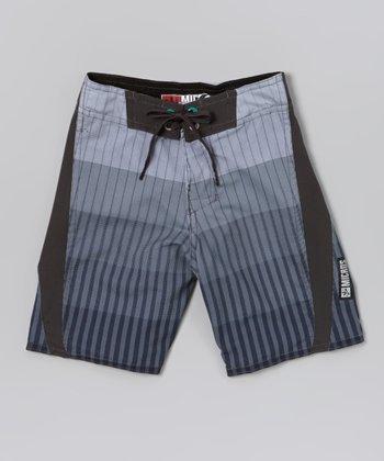 Micros Gray & Black Method Boardshorts - Boys