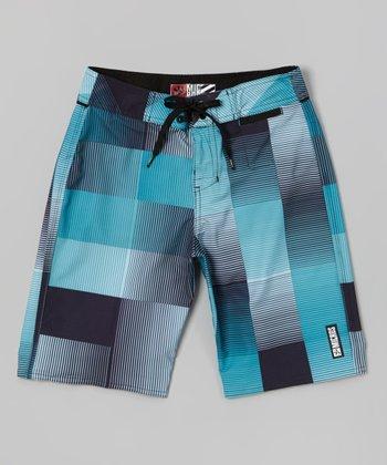 Micros Blue & Gray Theory Boardshorts - Boys