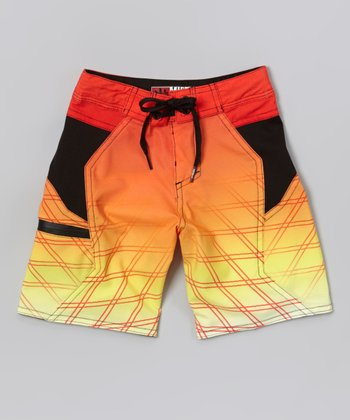 Micros Neon Red Wind & Sea Boardshorts - Boys