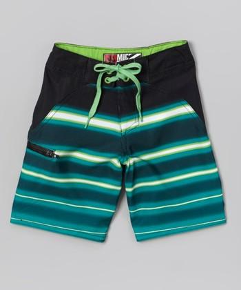 Micros Lime Green Fast Light Boardshorts - Boys