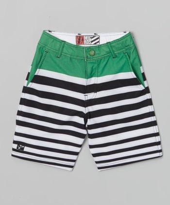 Micros Green & Black Stripe Fast Light Boardshorts - Boys