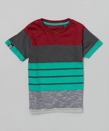 Brick & Turquoise Pelma Tee - Boys