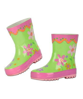 Pink & Green Flower Rain Boot