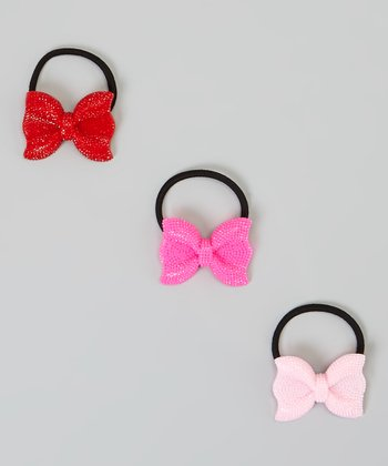 Pink, Hot Pink & Red Sparkle Bow Hair Tie Set