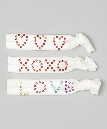 White 'Love' Hair Tie Set