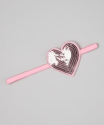 Pink Sequin Heart Headband