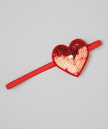 Red Sequin Heart Headband