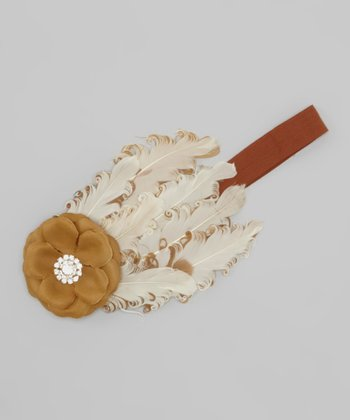 Beige & Tan Feather Headband
