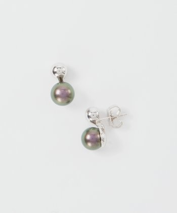 Tahitian Purple Pearl & Sterling Silver Earrings