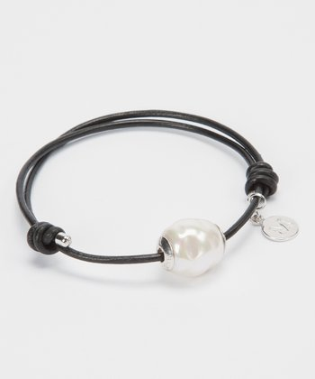 Pearl & Black Leather Bracelet