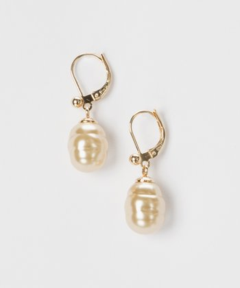 Gold & Champagne Baroque Pearl Drop Earrings