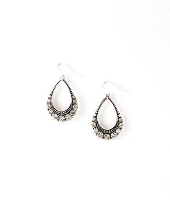 Silver Sparkle Teardrop Earrings