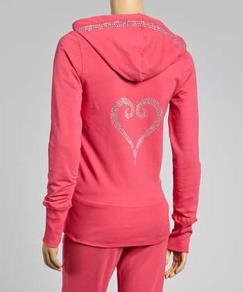 Fuchsia Heart Hoodie & Lounge Pants - Women