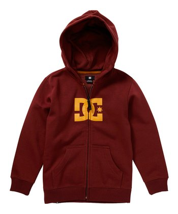 Maroon Star Zip-Up Hoodie - Boys