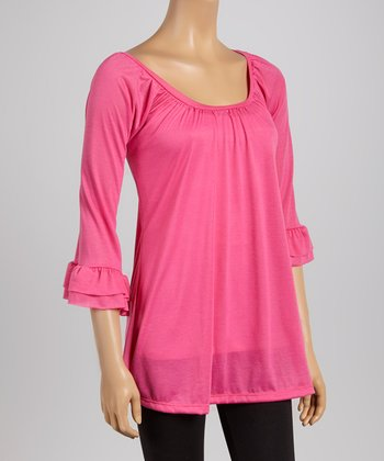 Pink Ruffle Scoop Neck Tunic