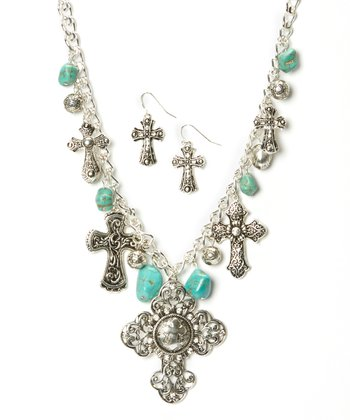 Turquoise & Silver Intricate Cross Necklace & Earrings