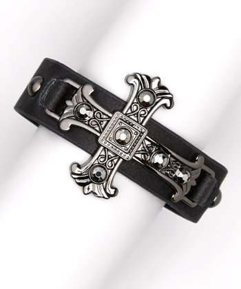 Black Leather Hematite Cross Bracelet
