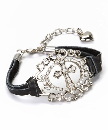 Silver & Black Cross Medallion Bracelet
