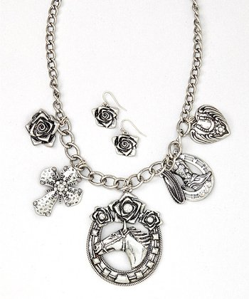 Silver Equestrian Charm Necklace & Earrings