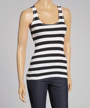 Black & White Stripe Racerback Tank