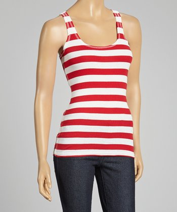 Red & White Stripe Racerback Tank