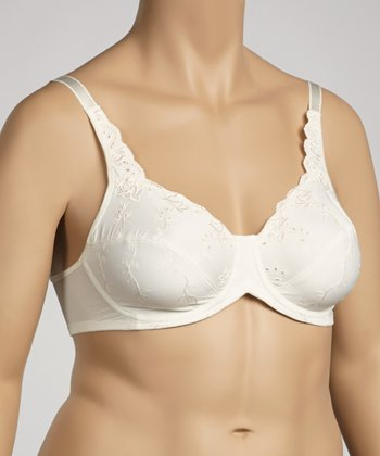 Ivory Eyelet Full Coverage Bra - Women & Plus