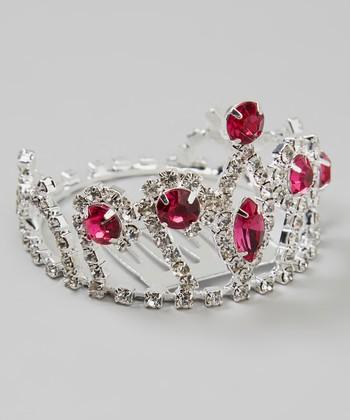 Silver & Pink Rhinestone Crown Comb