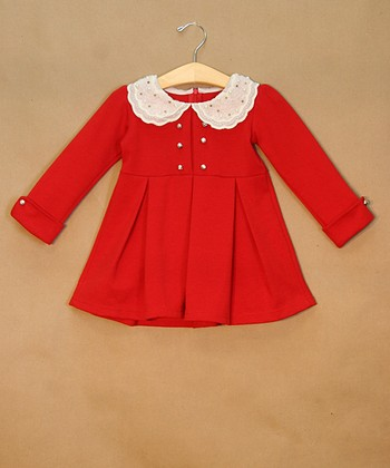 Red Peter Pan Collar Studded Dress - Toddler & Girls