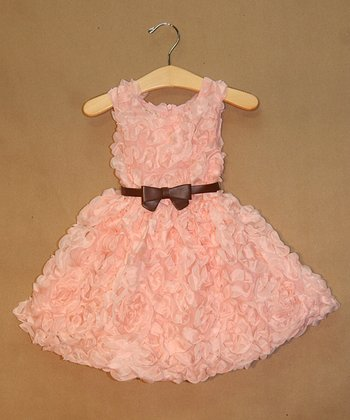 Light Pink Rosette Belted Dress - Infant, Toddler & Girls