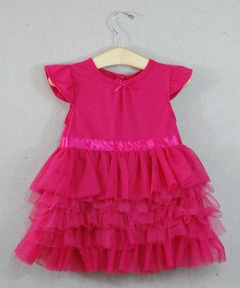 Fuchsia Ruffle Angel-Sleeve Dress - Infant & Toddler