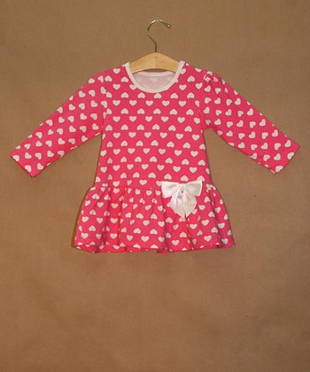Pink Hearts Drop-Waist Dress - Toddler & Girls