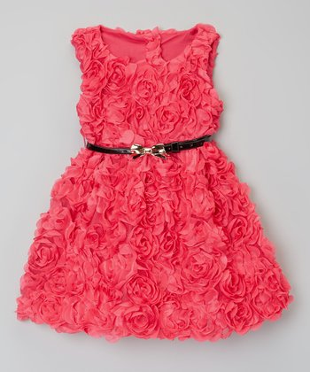 Dark Pink Rosette Belted Dress - Toddler & Girls