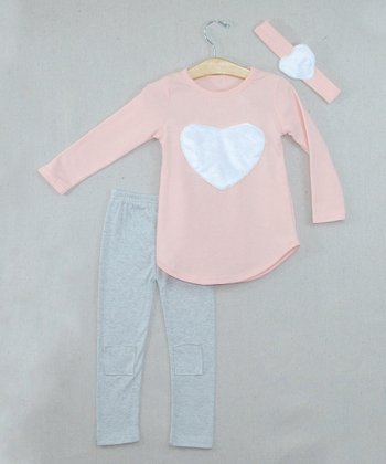 Light Pink Heart Top Set - Toddler & Girls