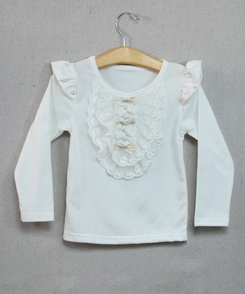 White Bows & Ruffle Top - Toddler & Girls