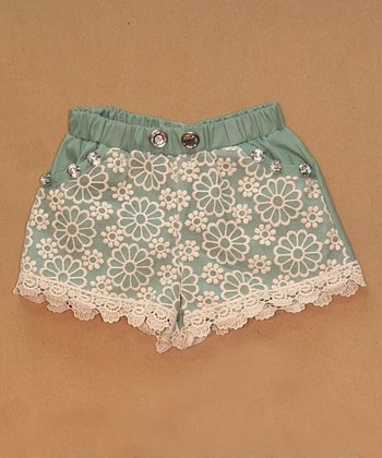 Mint Lace Shorts - Infant, Toddler & Girls