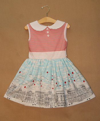 Pink & Blue City Skyline Dress - Toddler & Girls