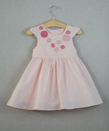 Light Pink Flower Angel-Sleeve Dress - Infant, Toddler & Girls