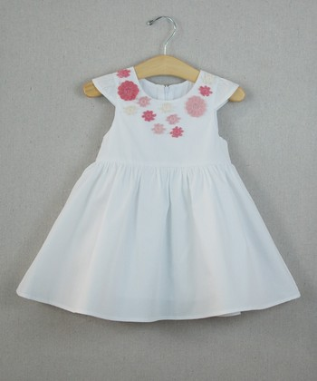 White Flower Angel-Sleeve Dress - Infant, Toddler & Girls