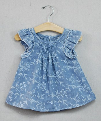 Light Blue Floral Angel-Sleeve Tunic - Toddler & Girls