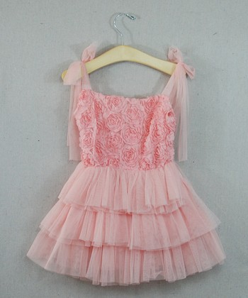 Pink Rosette & Ruffle Tie Dress - Infant, Toddler & Girls
