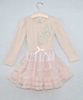 Beige Flower Tutu Dress - Toddler & Girls