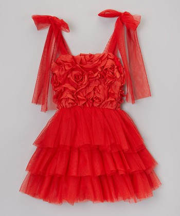 Red Rosette & Ruffle Tie Dress - Infant, Toddler & Girls