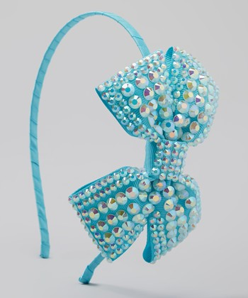 Blue Rhinestone Bow Headband