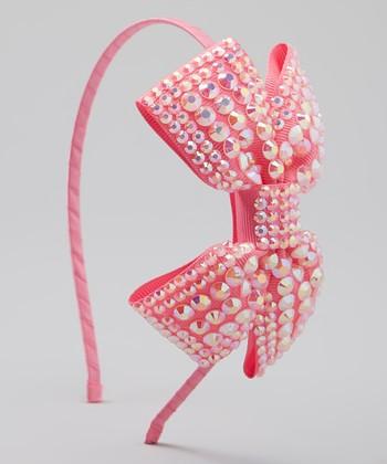 Pink Rhinestone Bow Headband