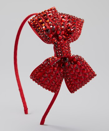 Red Rhinestone Bow Headband
