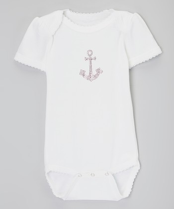 White & Pink Anchor Rhinestone Bodysuit - Infant