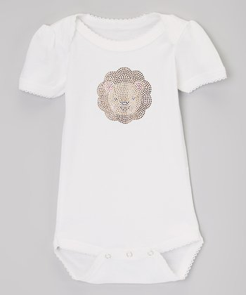 White & Yellow Lion Rhinestone Bodysuit - Infant