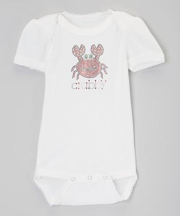 White & Pink 'Crabby' Rhinestone Bodysuit - Infant