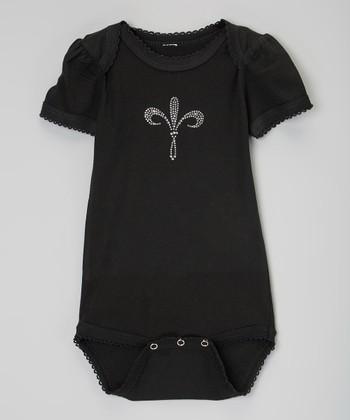 Black Fleur-de-Lis Rhinestone Bodysuit - Infant