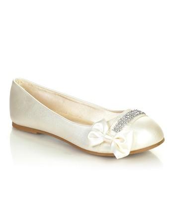 Pearl Sparkle Bow Ava Flat
